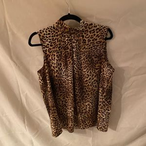 High Collared Leopard Blouse